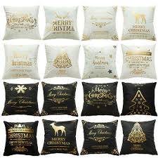 1PX <b>Bronzing Cushion Cover</b> Merry <b>Christmas</b> Pillow Case Party ...