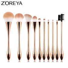 Zoreya Brand <b>10pcs</b> Rose Gold Luxury <b>Makeup Brushes</b> Set High ...