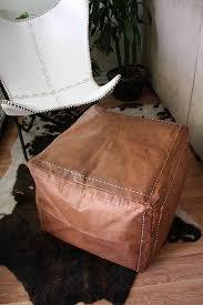 Square ottoman square <b>pouf brown</b> , light tan <b>handmade footstool</b> ...