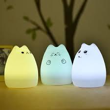 <b>LED</b> Night Light 7 Colors USB Silicone Cat <b>Soft</b> Cartoon Baby <b>Kids</b> ...