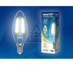 <b>Лампа</b> светодиодная <b>Uniel LED</b>-<b>C35</b>-<b>7</b>,<b>5W</b>/<b>WW</b>/<b>E14</b>/<b>CL</b> - цена ...