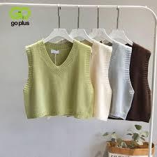 GOPLUS Women V-Neck Knitted Vest 2021 <b>NEW Spring Autumn</b> ...
