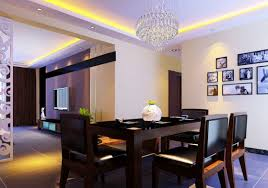dining room wall decorating ideas: wonderful crystalist chandelier in contemporary dining room furnished with black table and chairs plus completed with
