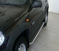 «<b>Защита порогов с площадкой</b> D63 мм (ППК) Chevrolet NIVA с ...
