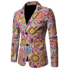 2019 <b>National Style Mens Suits</b> Blazers Cotton Linen Casual Floral ...