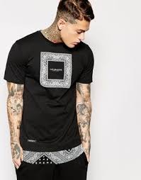 <b>Cayler & Sons</b> Black Label Longline T-Shirt With Bandana Print at ...
