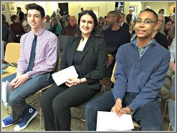 team westport ldquo white privilege rdquo essay winners announced  team westport finalists from left josiah tarrant claire dinshaw and chet ellis before tonight s announcement of the winners
