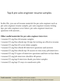 Top   pre sales engineer resume samples In this file  you can ref resume materials