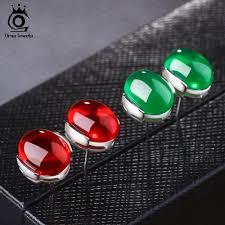 <b>ORSA JEWELS</b> 2019 Luxury <b>Natural Stone</b> Earring Green /Blue/Red ...