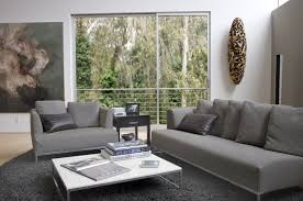 chic living room design by veridian homes with gray leather sofa on gray rug matched with white wall ideas chic living room leather
