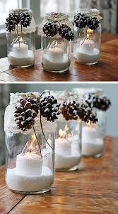 snowy pinecone candle jars click for 28 easy diy christmas decor ideas on a budget betty 8 light mason jar