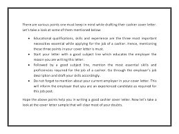 Cashier cover letter sample pdf