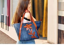 <b>KISS KAREN Stylish Floral</b> Design Denim Totes Casual Tote Bag ...