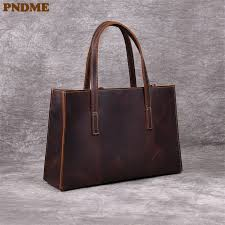 <b>PNDME vintage</b> high quality <b>crazy horse</b> leather women's tote bag ...