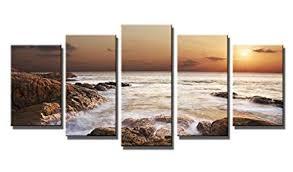 Wieco Art - the Rocky Sea 5 Panels Modern <b>Seascape</b> Giclee ...