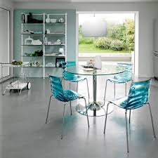 metal dining room chairs chrome: sweet round glass kitchen dining table blue acrylic dining chair chrome plated iron legs kitchen chairs and mid century dining chairs single chrome metal