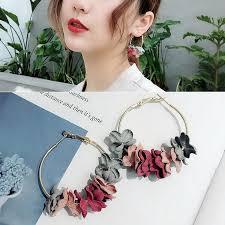 Korea Aesthetic Student <b>Super Fairy Flower</b> Round <b>Earrings</b> R194 ...