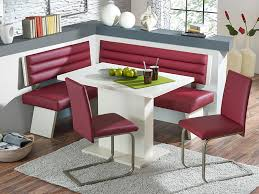 minimalist magenta corner breakfast nook furniture idea with stools on gray area rug with white table breakfast area furniture