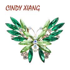 CINDY XIANG 2 Colors Available Rhinestone Butterfly Brooches for ...