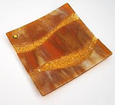 home decor plate x: fused glass home decor plate shimmering golds and amber waves