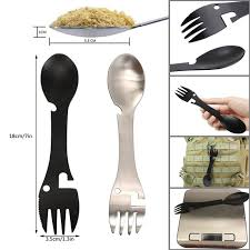 <b>Multifunctional Stainless Steel</b> EDC Spork <b>Fork Spoon</b> Wrench for ...