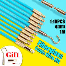 <b>10X 1M 4mm</b> Fiberglass Cable Rod Electrical Push Puller Duct ...