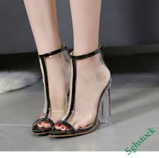 team promotions Sexy Lace Up Women's <b>Transparent Peep Toe</b> ...