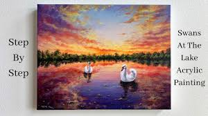 Swans in the <b>Lake</b> at <b>Sunset</b> STEP by STEP Acrylic Painting ...
