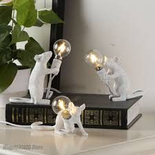 Mouse Table Lamp Resin White <b>Nordic Creative living</b> room study ...