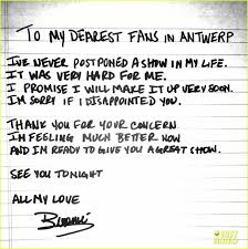 beyonce writes apology note after cancelled concert photo  beyonce writes apology note after cancelled concert