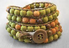 Tribal Bead Stack Bracelet Set - hand <b>painted</b> chunky <b>bohemian</b> ...
