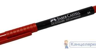 <b>Маркер перманентный</b> с ластиком <b>Faber</b>-<b>Castell</b>, красный, арт ...
