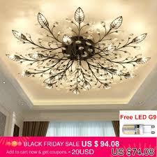 Modern Flush Mount Home Gold Black LED K9 Crystal Ceiling ...