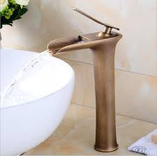 Antique <b>Tall Basin Faucets Waterfall</b> Bathroom Faucet Single handle ...