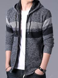 <b>Men's</b> Casual Contrast Color Sweater Fashion Hooded Coat Striped ...