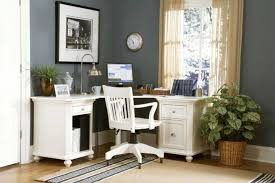 beautiful home office design by ikea with traditional style having grey walls glass windows cream curtains beautiful home office wall