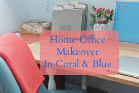 home office makeover in coral and blue blue home office