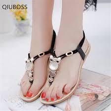 <b>QIUBOSS Women</b> Shoes 2019 Summer <b>New</b> Fashion Rhinestone ...
