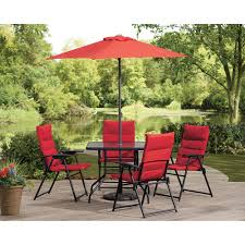 patio table and 6 chairs: castlecreek red outdoor patio furniture dining set  pc includes folding chairs