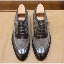 Handmade Two Tone Wingtip Formal Shoes, <b>Men</b> Gray And Black ...