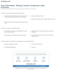 quiz worksheet writing a teacher introduction letter to print how to write a teacher introduction letter to parents worksheet