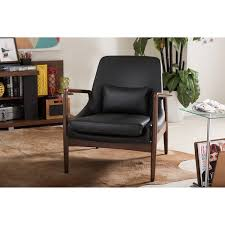baxton studio carter mid century black faux leather accent chair black leather mid century