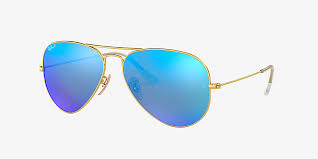 Ray-Ban RB3025 AVIATOR <b>FLASH LENSES</b> 58 Blue & Gold ...