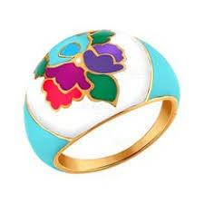 <b>Позолоченное кольцо</b> с разноцветной эмалью | Серебряные ...