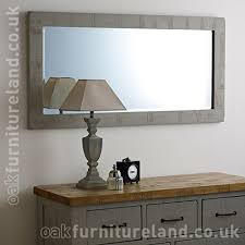 clermont painted rough sawn oak 1200mm x 600mm wall mirror baumhaus mobel oak medium