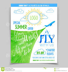 summer holiday flyer banner or template stock photo image airline promotional watercolor flyer royalty stock image