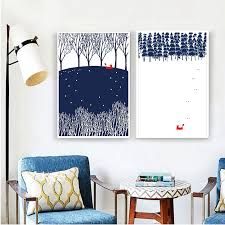 <b>Modern Nordic Minimalist Landscape</b> Animal Fox Winter forest ...