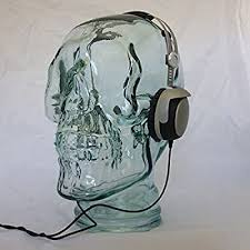 AMP3 Glass <b>Skull Headphones</b> Stand Colour CLEAR: Amazon.co ...