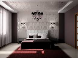 room elegant wallpaper bedroom:  elegant grey and white bedroom with ruby red rug white blinds chandelier and decorative