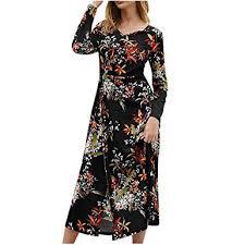 Dunacifa <b>Women</b> Loose Long Sleeve <b>Dresses Sexy</b> O-Neck <b>Floral</b> ...